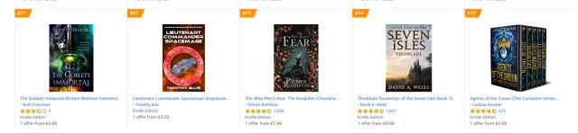 Amazon UK epic fantasy bestsellers kindle
