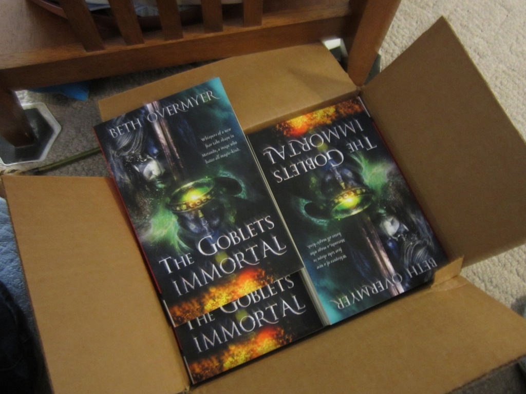 Picture of a cardboard box containing several copies of THE GOBLETS IMMORTAL.